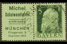 BAVARIA 1911 Michel Advert Label+5pf Green On Green Type III Horizontal SE-TENANT PAIR, Michel W 1.8, Finely Cds Used, M - Unclassified
