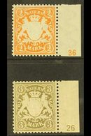 BAVARIA PLATE NUMBERS 1903 2m Orange-yellow With '36' Plate Number And 1900 3m Olive-brown With '26' Plate Number, Miche - Unclassified