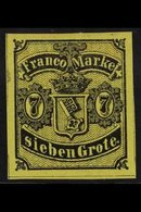 BREMEN 1860 7gr Black On Yellow (Michel 3, SG 4), Very Fine Mint, Four Large Margins, Very Fresh, A Lovely Stamp. For Mo - Unclassified
