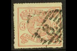 """BRUNSWICK 1864 3sgr Rose On White, Perce En Arc 16, Mi 16A, Fine Used With """"8"""" In Barred Diamond Cancel. Scarce Stamp, C - Unclassified"""