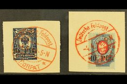 """ESTONIA Local Issue For DORPAT, 1918 20pf On 10k & 40pf On 20k, Mi 1/2, Superb Used On Pieces With Red, """"Deutsche Feldpo - Germany"""