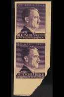 GENERALGOUVERNEMENT 1943 Hitlers Birthday 12z+1z Violet - A Vertical IMPERF PROOF PAIR On Yellowish Ungummed Paper, Mich - Germany