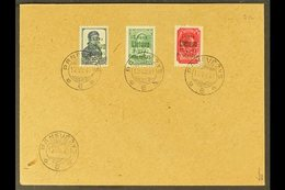 PANEVEZYS (PONEWESCH) 1941 July 10k Prussian Blue, 20k Yellow- Green With Green Overprint & 60k Lilac- Red (Michel 5, 7a - Germany