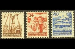 POLAND - GENERAL GOVERNMENT 1944 Unissued Land And People Set Complete, Michel I/III, Never Hinged Mint (3 Stamps) For M - Germany