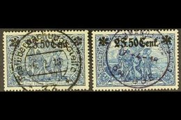 WESTERN MILITARY COMMAND AREA 1916 2f50c On 2m, 25x17 Holes, Both Michel Listed Shades, Mi 12Ba And 12Bb, Very Fine Cds  - Germany
