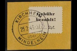 "MINDELHEIM AND KIRCHHEIM 1945 3pf Black On White Paper With Manuscript ""3"" Local Stamp Showing ""RPF"" HORIZONTALLY BROKEN - Germany"