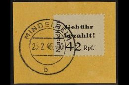 MINDELHEIM AND KIRCHHEIM 1945 42pf Black Type A On Grey Paper Local Stamp, Michel 2 A, Superb Cds Used On Piece With Com - Germany