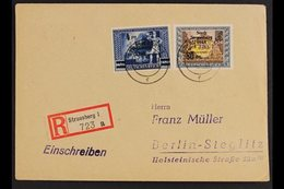 """STRAUSBERG 1946 Three Registered Covers Bearing Eight Stamps With """"Stadt Strausberg"""" Local Overprints Tied By """"Strausber - Germany"""