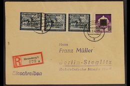 STRAUSBERG 1946 (30 March) Registered Cover Bearing 8pf Strip Of 3 (Michel 13) And 60pf On 6pf With 'overprint One Colou - Germany