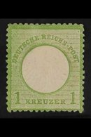 1872 1k Yellow-green Small Shield (Michel 7, SG 8), Mint, Small Thin, Fresh, Cat £1,000. For More Images, Please Visit H - Germany