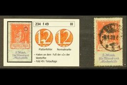 """1922 - VARIETY. 12m+8m Red & Lilac """"Fund For The Old & For The Children"""" (SG 248) With HOOK AT FOOT OF """"2"""" Plate Flaw (p - Germany"""