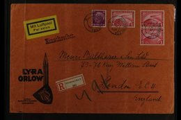 1934 (20 June) Registered Airmail Advert 'Lyra Orlow' Cover To London, Bearing 40pf Hindenburg And 1931 1m Air Zeppelin  - Germany