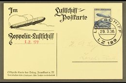 1936 29.3.36 Ppc Flight Card From Zeppelin LZ 129 Franked 50pf LZ129 Adhesive Tied By Luftschiff LZ 129 Cds. For More Im - Germany