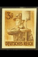 1943 3pf Brown Labour Corps IMPERF (Michel 850 U, SG 838a), Never Hinged Mint, Fresh. For More Images, Please Visit Http - Germany