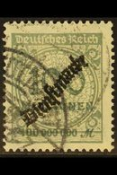 """OFFICIAL 1923 100mio Grey """"Dienstmarke"""" Overprint (Michel 82, SG O342), Very Fine Cds Used, Expertized Infla Berlin. For - Germany"""
