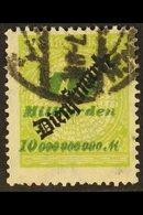 "OFFICIAL 1923 10mrd Green & Apple-green ""Dienstmarke"" Overprint (Michel 86, SG O346), Cds Used, Expertized Dr Oechsner B - Germany"