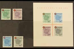 FRENCH ZONE WURTTEMBERG 1949 Red Cross Complete Set & Mini-sheet (Michel 40/43 & Block 11, SG FW40/43 & MSFW43a), Never  - Germany