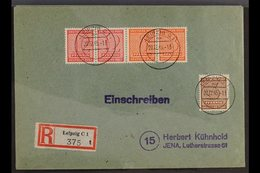 RUSSIAN ZONE WEST SAXONY 1945-46 SE-TENANT ISSUES ON COVERS. An Interesting Group Of Registered Covers Bearing Different - Germany