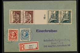RUSSIAN ZONE THURINGIA 1946 Two Registered Covers Bearing Bridges Vertical SE-TENANT GUTTER STRIPS Of 4, Plus A Few Sing - Germany
