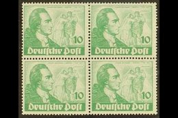 1949 10pf Green Goethe (Michel 61, SG B61), Mint (two Stamps Are Never Hinged) BLOCK Of 4 With One Stamp Showing Michel  - [5] Berlin
