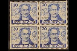 "1949 30pf Dark Ultramarine ""Goethe"", BLOCK OF 4, Lower Right Stamp Bearing Plate Flaw, Mi 63/63I, Fine Mint, Lower Stamp - [5] Berlin"