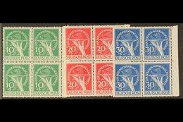 1949 Berlin Relief Fund Complete Set (Michel 68/70, SG B68/70), Never Hinged Mint Matching Marginal BLOCKS Of 4, Very Fr - [5] Berlin