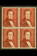 1951 20pf Brown-lake Lortzing (Michel 74, SG B74), Superb Never Hinged Mint BLOCK Of 4, Very Fresh. (4 Stamps) For More  - [5] Berlin