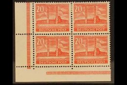 1953 20pf Bright Scarlet, Mi 113, SG B42b, Mint CORNER BLOCK Of 4, Both Lower Stamps Being Never Hinge Mint (4 Stamps) F - [5] Berlin