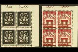 1953 East German Uprising Complete Set (Michel 110/11, SG B110/11), Never Hinged Mint Matching Upper Right Corner BLOCKS - [5] Berlin