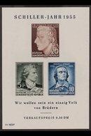 1955 Schiller Mini-sheet With 'Gesicht Mit 2 Warzen' PLATE FLAW, Michel Block 12 II, Superb Never Hinged Mint, Very Fres - [6] Democratic Republic