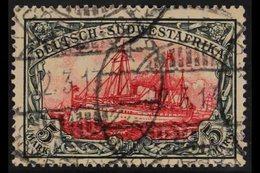 GERMAN SOUTHWEST AFRICA 1906-19 5m Black & Carmine, Lozenge Wmk, Mi 32Aa, SG 32, Fine Cds Used. For More Images, Please  - Germany