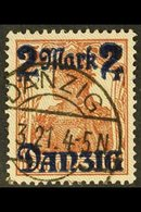 1920 (1 NOV) 2m On 35pf Red-brown With Burle Background With POINTS DOWNWARD TO THE LEFT, Michel 43 II, Very Fine Postal - Danzig