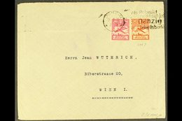 1929 COVER WITH LISTED VARIETY 1929 (Sept 29) Commercial Cover To Vienna Bearing 1924 10pf Red Air With SQUARE CHUNK OUT - Danzig