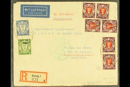 1934 ZEPPELIN COVER TO BRAZIL 1934 (7 Dec) Registered Commercial Air Cover To Brazil Bearing 1924-38 75pf X8 (Michel 201 - Danzig