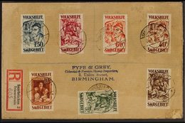 """1931 Christmas Charity Paintings Complete Set (Michel 144/50, SG 143/49), Fineused On Registered Cover Cancelled By """"Sa - Saar"""