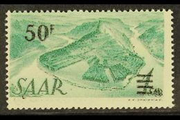 """1947 50f On 1Sm Green Surcharge, Variety """"PRINTED ON THE GUMMED SIDE"""", Mi. 238 II FA G, Very Fine NHM. Scarce And Impres - Saar"""
