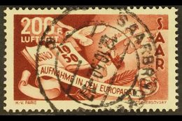 """1950 200f Brown Lake Air Council Of Europe With WHITE DOT AFTER """"F"""" Plate Flaw, Michel 298 I, Very Fine Cds Used With Fu - Saar"""