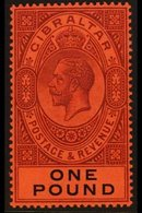 1912-24 KGV £1 Dull Purple & Black/red, MCA Wmk, SG 85, Never Hinged Mint For More Images, Please Visit Http://www.sanda - Gibraltar
