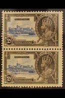 "1935 JUBILEE VARIETY 2d Ultramarine & Grey Black Vertical Pair, Top Stamp Bearing ""EXTRA FLAGSTAFF"" Variety, SG 114/114a - Gibraltar"
