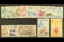 1953-59 Complete Definitive Set, SG 145/158, Very Fine Used. (14 Stamps) For More Images, Please Visit Http://www.sandaf - Gibraltar