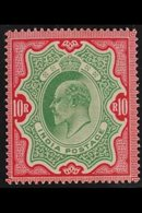1902-11 10R Green And Carmine, SG 144, Very Fine Lightly Hinged Mint. Lovely! For More Images, Please Visit Http://www.s - India