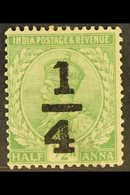 """1922 ¼a On ½pi Bright Green, Slating Serif On """"1"""", SG 195c, Fine Mint. For More Images, Please Visit Http://www.sandafay - India"""