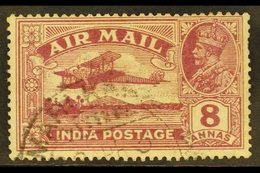 """1929 8a Purple Air With REVERSED SERIF On Second """"I"""" Of """"INDIA"""", SG 224b, Very Fine Cds Used With Missing Perf At Right. - India"""