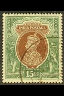 1937-40 15r Brown & Green (Upright Wmk), SG 263, Very Fine Cds Used For More Images, Please Visit Http://www.sandafayre. - India