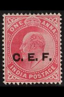 """CHINA EXPEDITIONARY FORCE 1905-11 1a Carmine """"C.E.F."""" OVERPRINT DOUBLE ONE ALBINO Variety, SG C13a, Fine Mint, Fresh. Fo - India"""