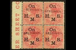 """OFFICIAL 1874-82 8a Rose With """"On H. M. S."""" Overprint And With Additional """"SPECIMEN"""" Handstamp, SG O35s, A Fine Mint BLO - India"""