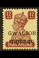 GWALIOR 1949 12a Lake, Alizah Printing Press (with Large Overprint), SG 137, Very Fine Mint, A Key Stamp. For More Image - India