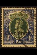 JIND 1937-38 5r Green & Blue, SG 123, Fine Cds Used For More Images, Please Visit Http://www.sandafayre.com/itemdetails. - India