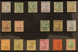 PATIALA 1884-1945 MINT QV SELECTION Presented On A Stock Card. Includes 1884 2a & 4a, 1885 Red & Black Opt'd Sets Inc 2a - India