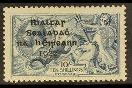 1922 10s Dull Grey-blue Seahorse Dollard Overprint With SHORT THIRD LINE Variety, Hibernian T14d (SG 21 Var), Fine Mint, - Ireland